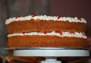 Madeira sponge with fresh cream & strawberries